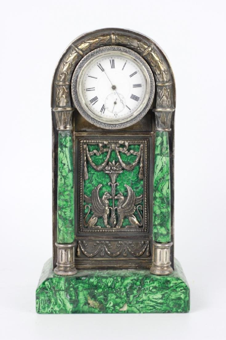 Russian Silver & Malachite Table Clock. Hallmarked