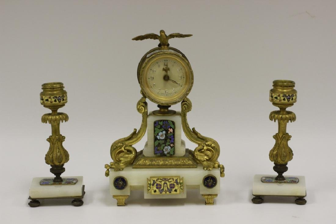 French Champleve Bronze & Marble 3 Piece Clock Set