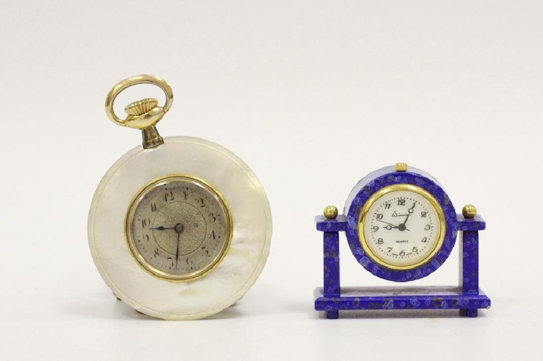 Unusual Pocket Watch W/ A Miniature Lapis Clock