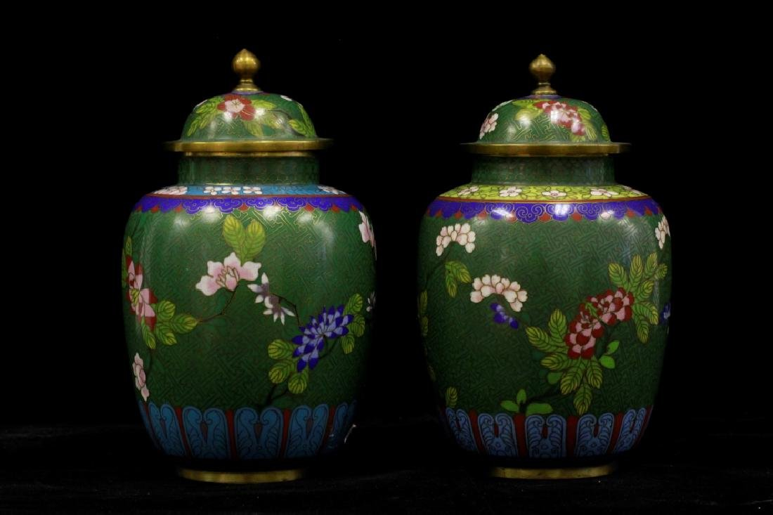 Chinese Near Pair Of Cloissone Covered Vases