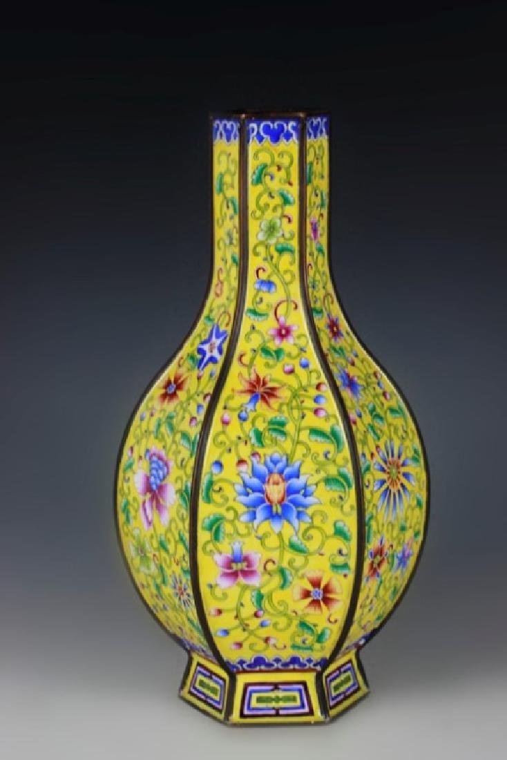 Chinese Enamel Cloisonne Hexagon Vase