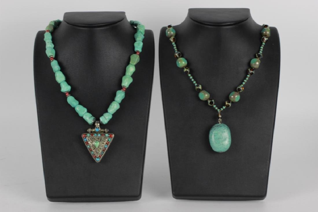 2 Unusual Sterling Silver & Turquoise Necklaces