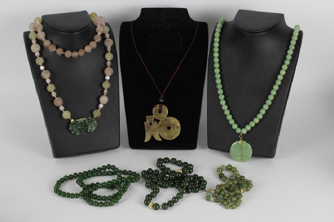 Group Of 6 Chinese Necklaces. Jade & Gold