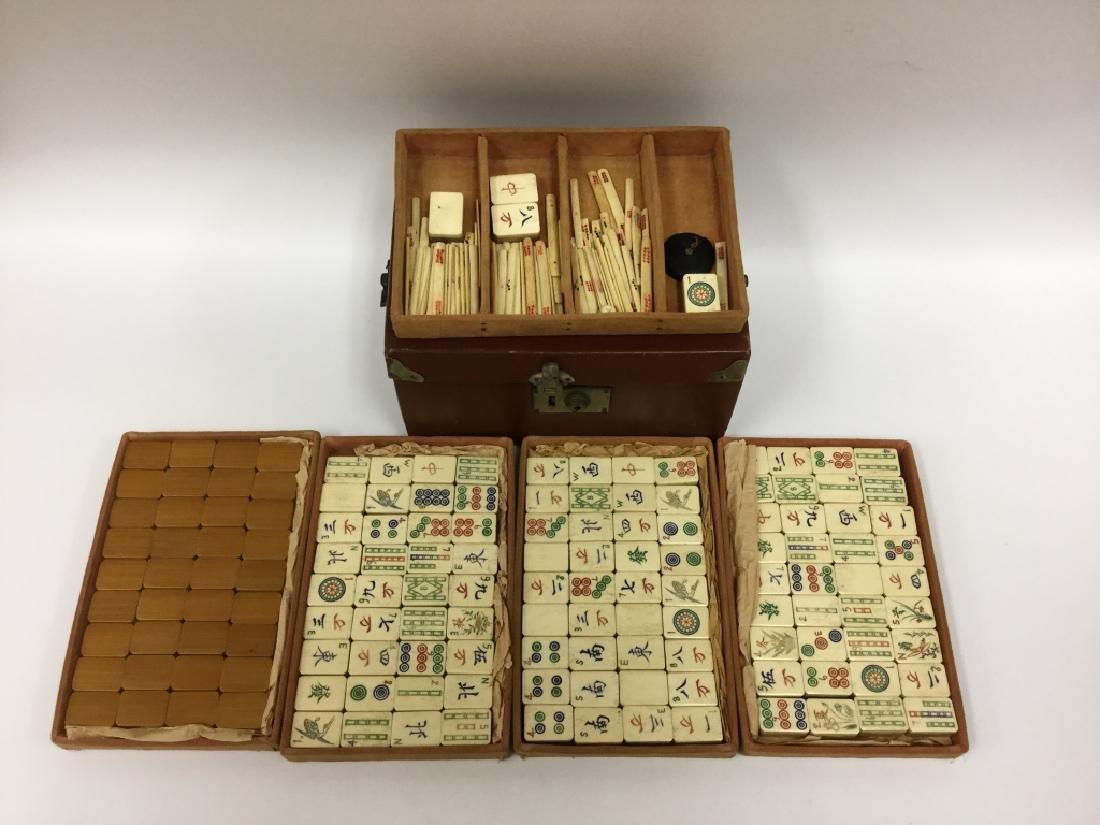 Old Chinese Mahjong Set. Bamboo & Bone