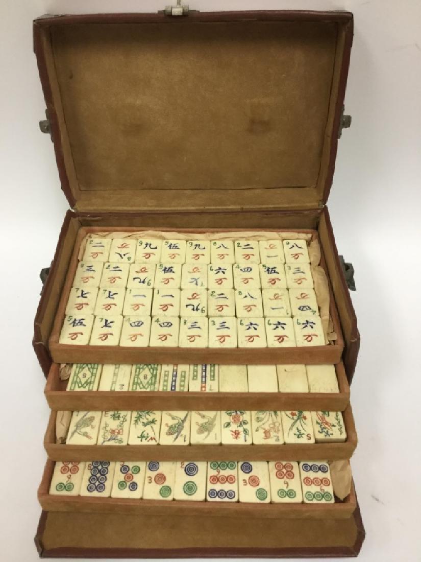 Old Chinese Mahjong Set. Bamboo & Bone - 2