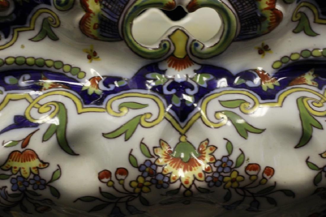 19thc. 2 Handled Porcelain Bowl Signed Rouien - 7