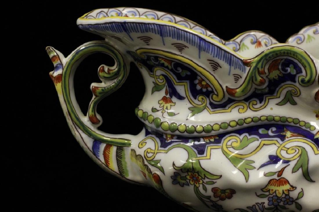 19thc. 2 Handled Porcelain Bowl Signed Rouien - 8