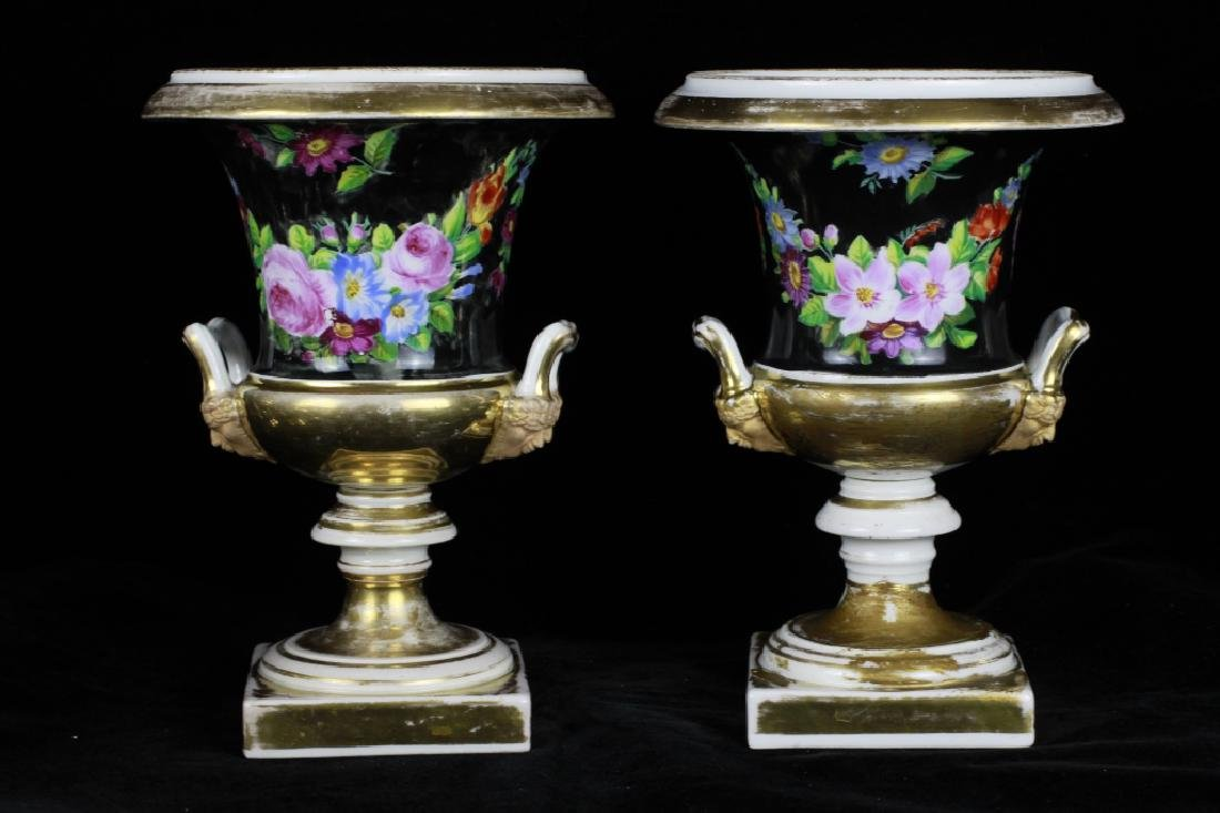 19thc Pair Of Paris Porcelain Vases