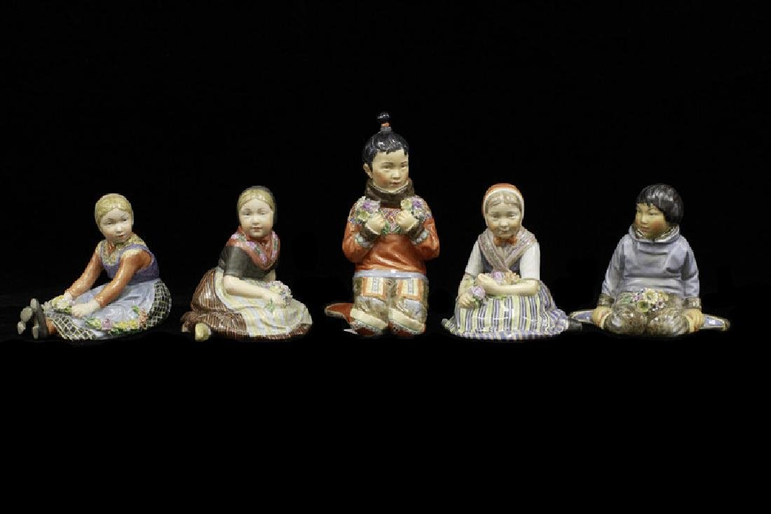 5 Royal Copenhagen Porcelain Figurines, All Signed