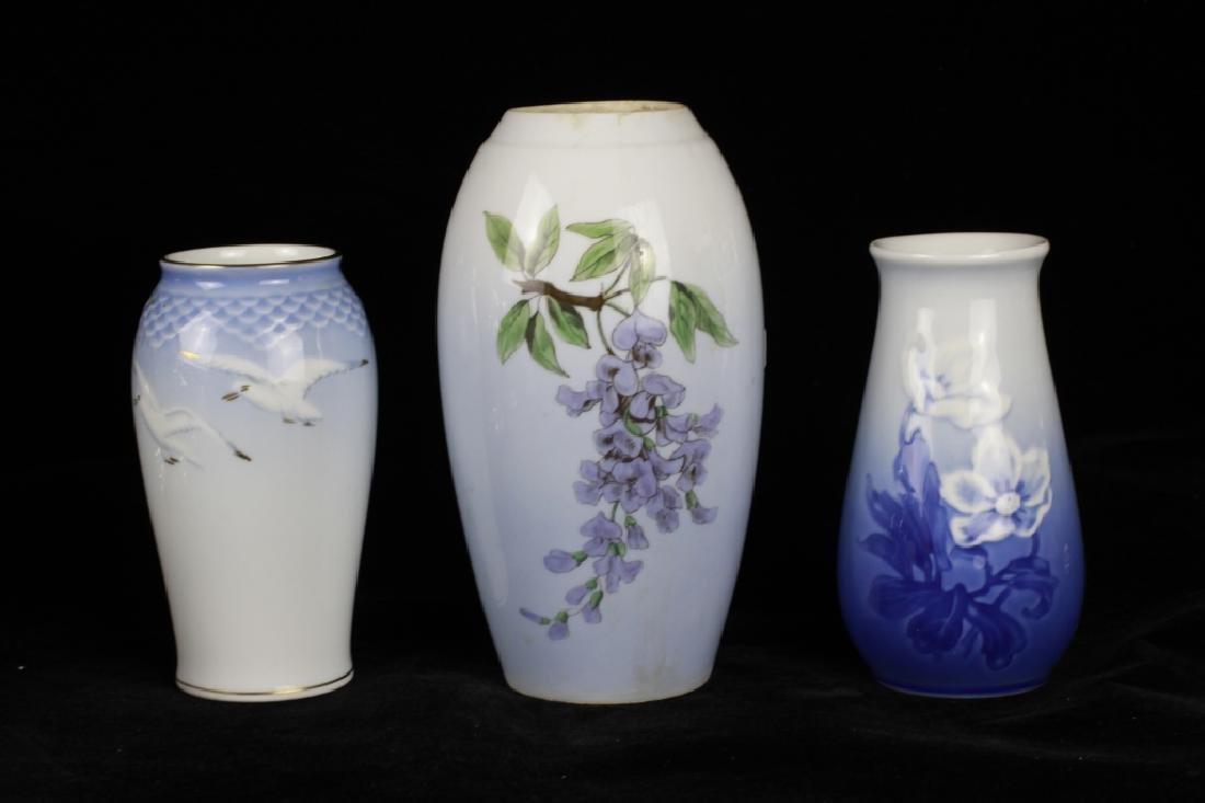 3 Danish Porcelain Vases