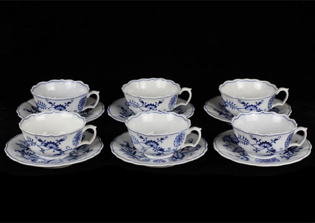 6 Meissen 19thc Cup & Saucers