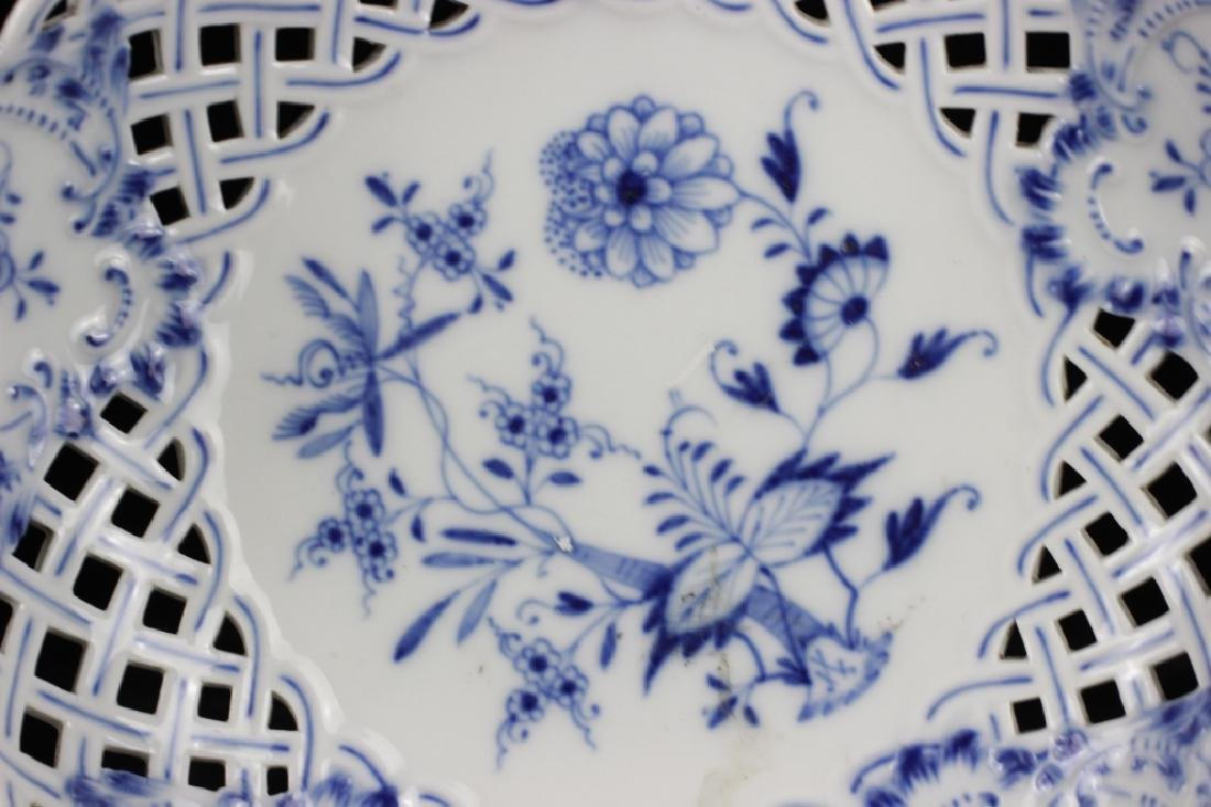 19thc Meissen Blue Flower Reticulated Tazza - 6