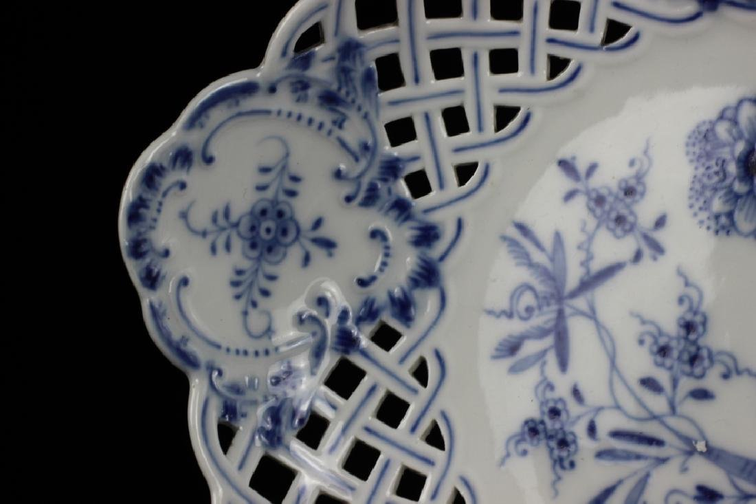 19thc Meissen Blue Flower Reticulated Tazza - 7