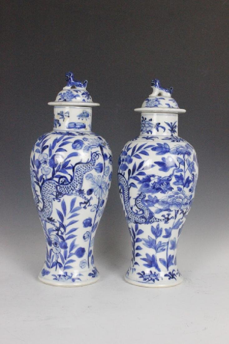 Chinese Pair Of  Antique Blue & White Ginger Jars