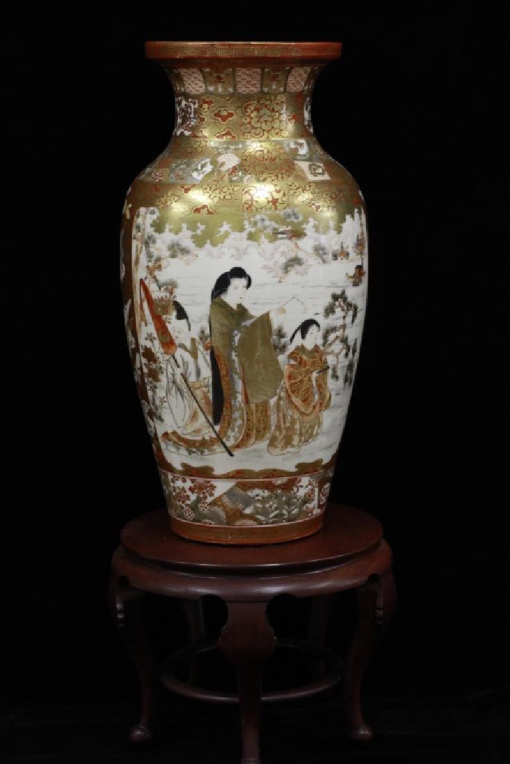 Japanese Large Satsuma Vase With Stand