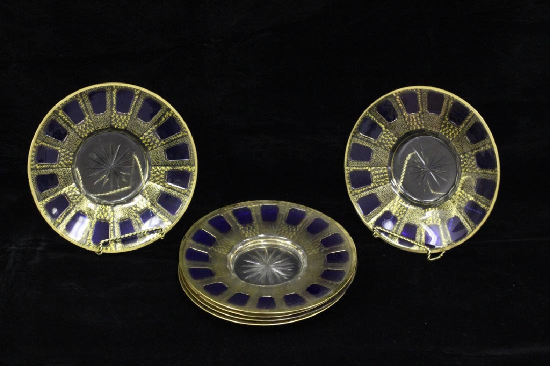 Set Of 6 Old Italian Gilt Glass Plates