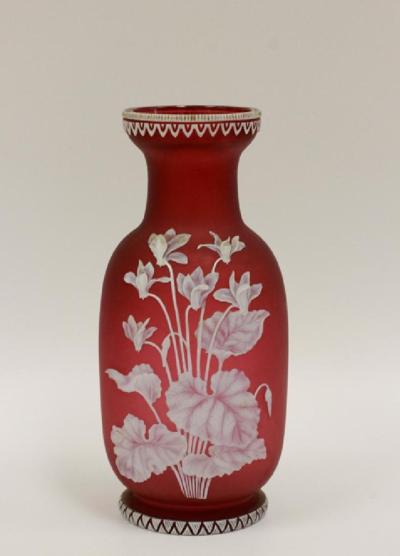 English Cameo Glass Red Vase