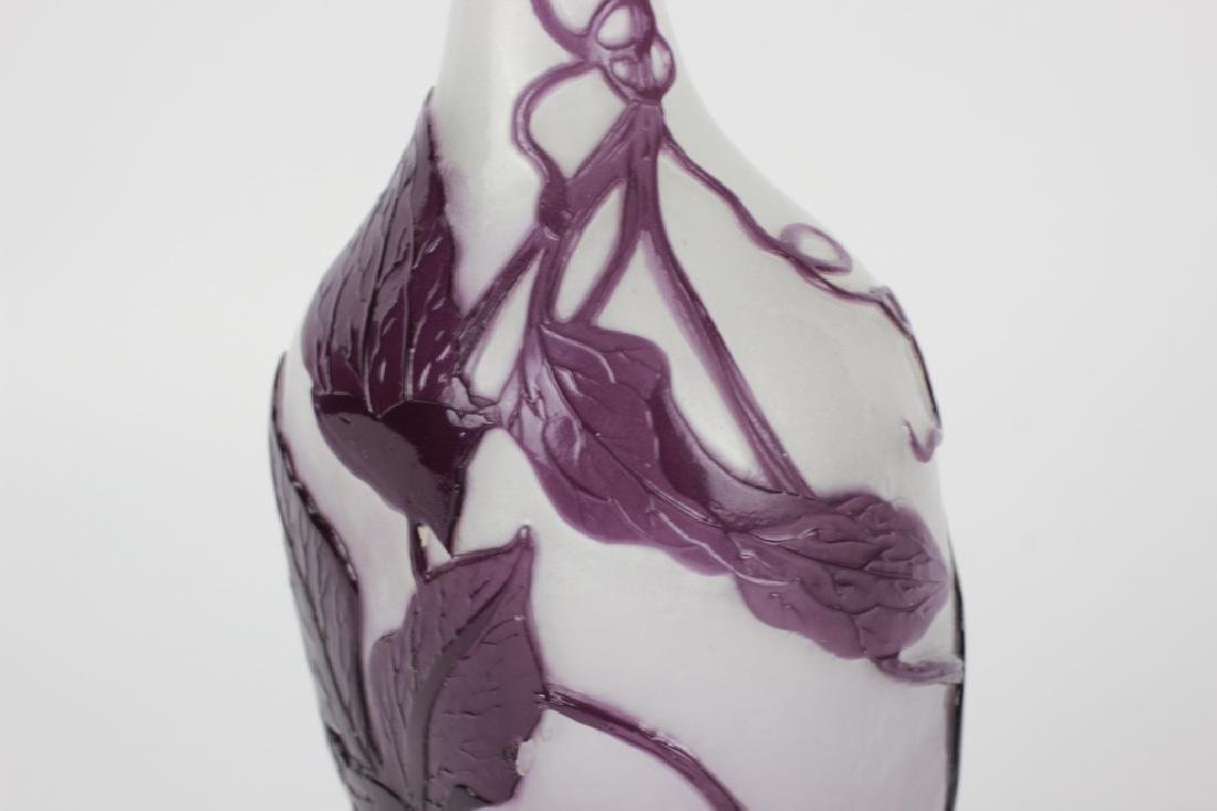 Galle Fire Polished Purple Flower Cameo Glass Vase - 2