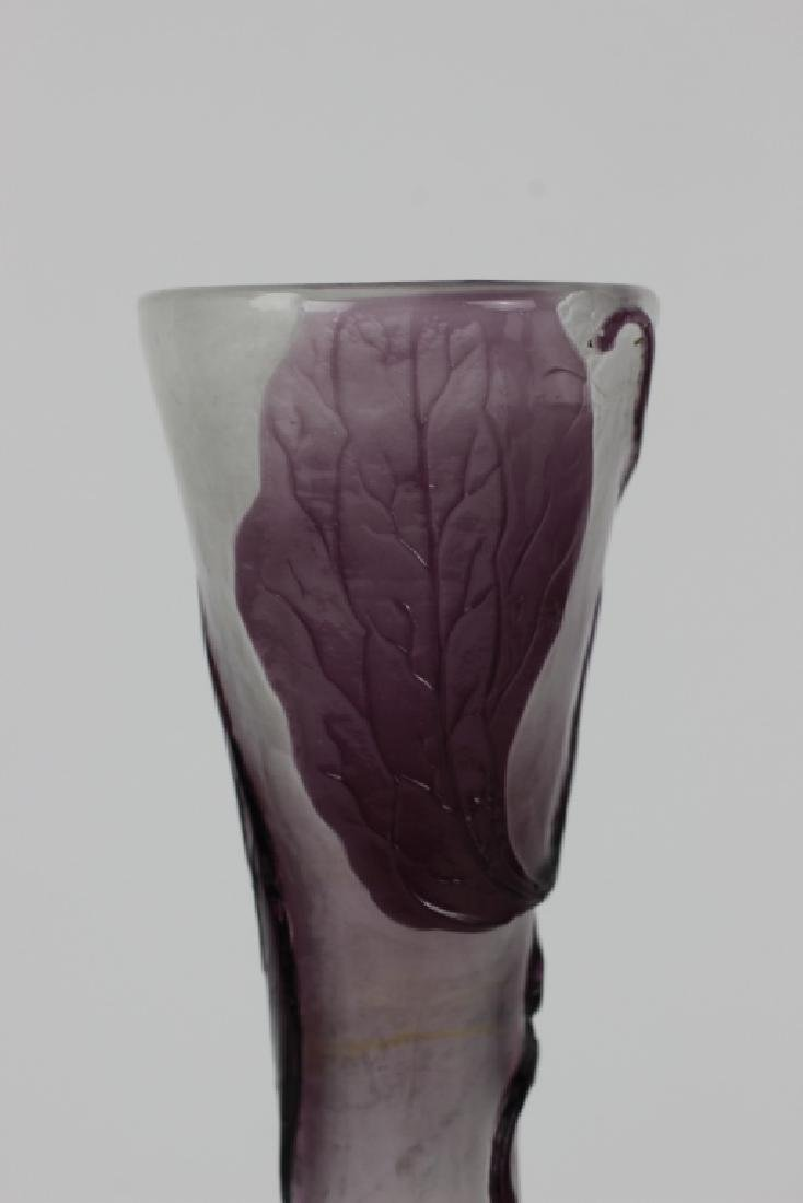 Galle Fire Polished Purple Flower Cameo Glass Vase - 3