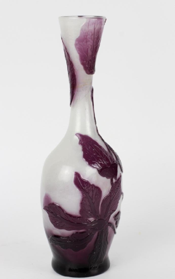 Galle Fire Polished Purple Flower Cameo Glass Vase - 5