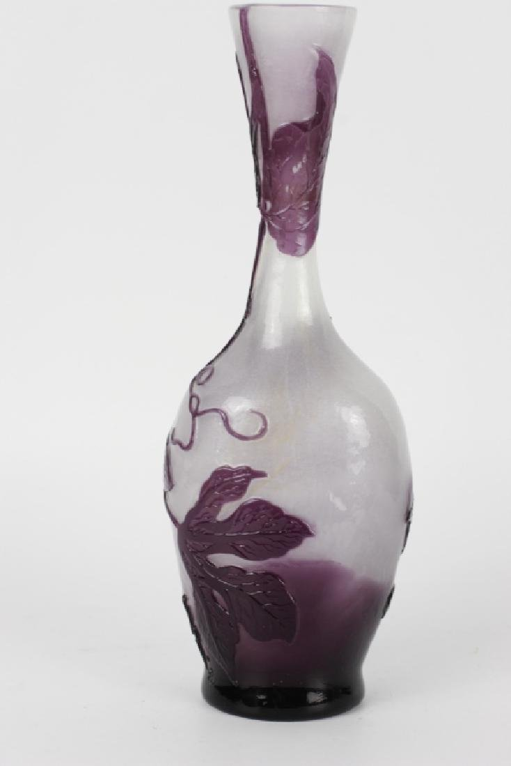 Galle Fire Polished Purple Flower Cameo Glass Vase - 8