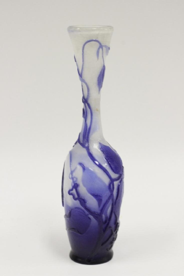 Galle Fire Polished Blue Flower Cameo Glass Vase - 5