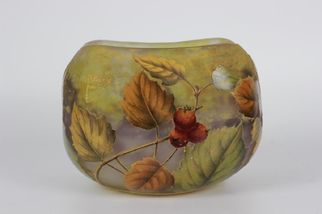Daum Nancy Enameled Berry Cameo Glass Bowl