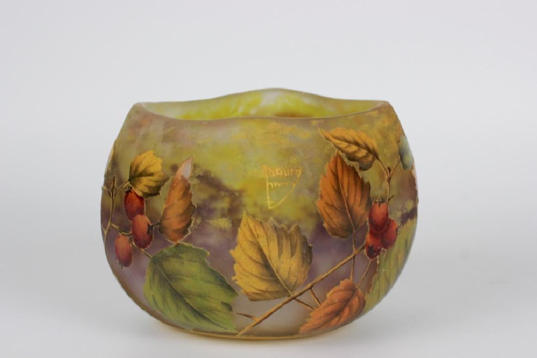 Daum Nancy Enameled Berry Cameo Glass Bowl - 2