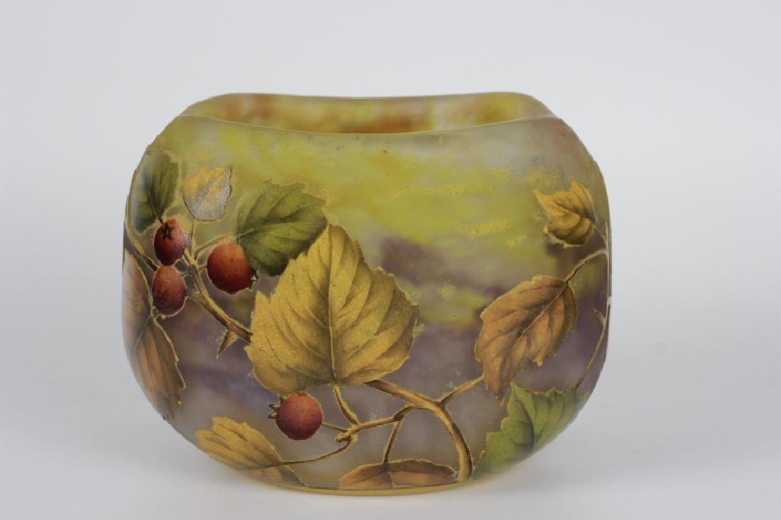 Daum Nancy Enameled Berry Cameo Glass Bowl - 3
