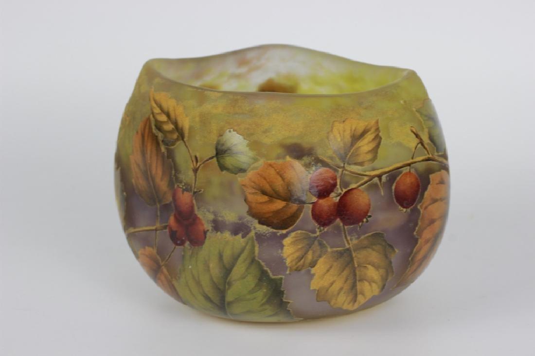Daum Nancy Enameled Berry Cameo Glass Bowl - 4