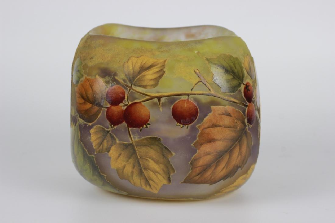 Daum Nancy Enameled Berry Cameo Glass Bowl - 7