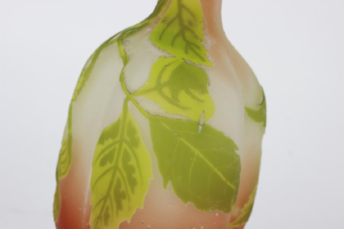 Galle Green Flower Cameo Glass Vase - 5