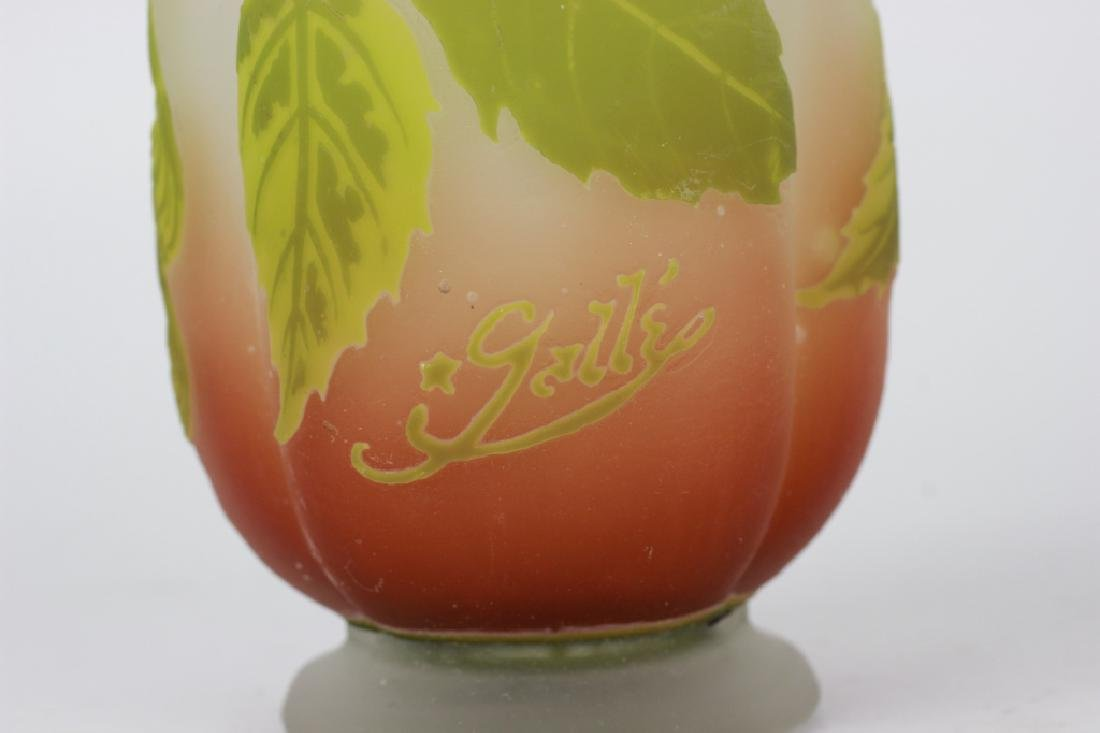 Galle Green Flower Cameo Glass Vase - 6