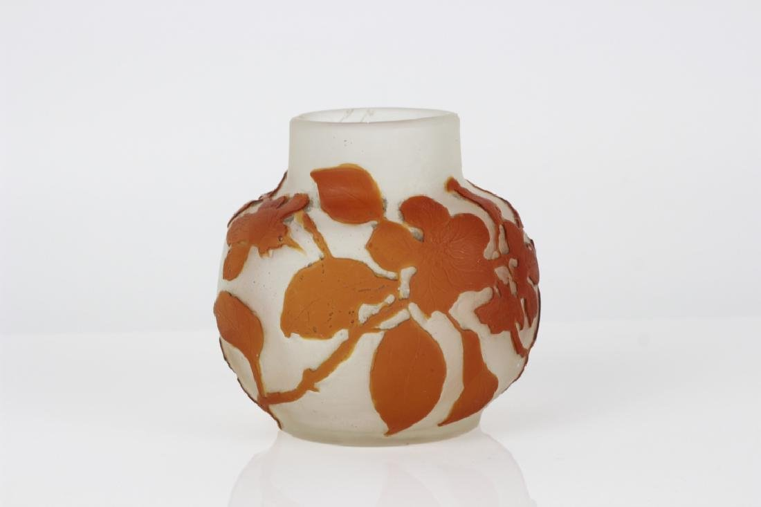 Galle Small Orange Flower Cameo Glass Vase