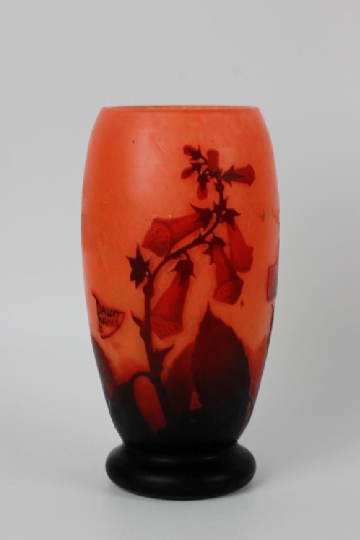 Daum Nancy Red & Orange Cameo Glass Vase