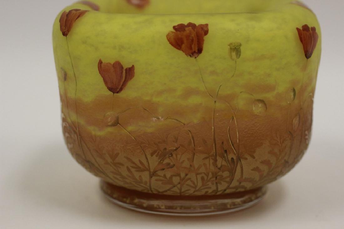 Daum Nancy Unusual Red Poppy Cameo Glass Bowl - 10