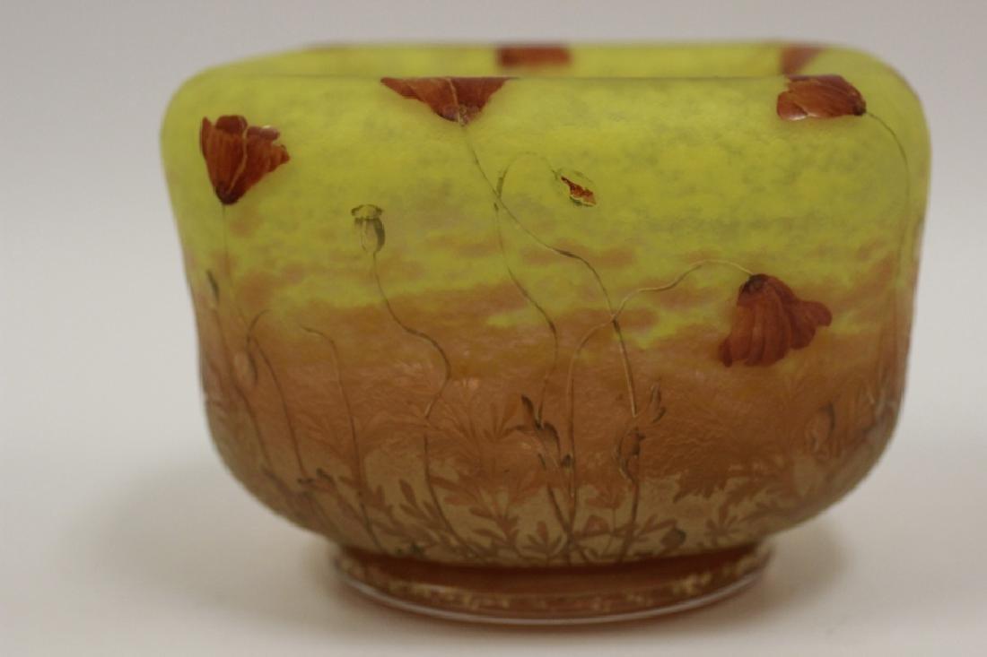 Daum Nancy Unusual Red Poppy Cameo Glass Bowl - 11