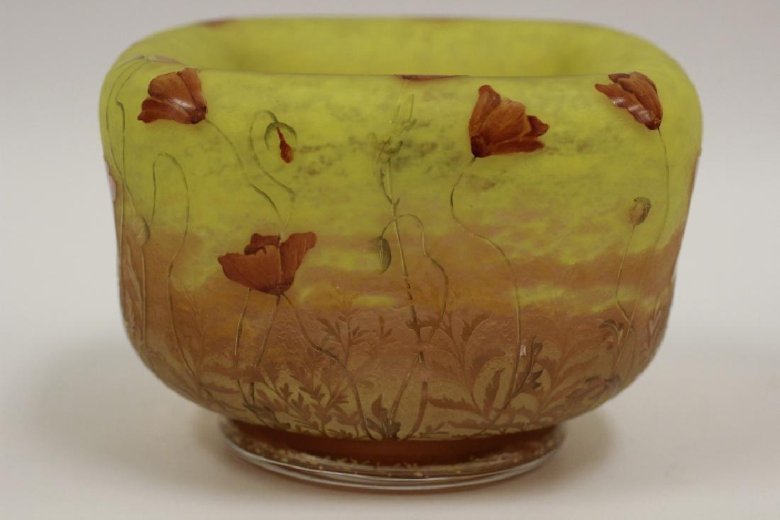 Daum Nancy Unusual Red Poppy Cameo Glass Bowl - 9