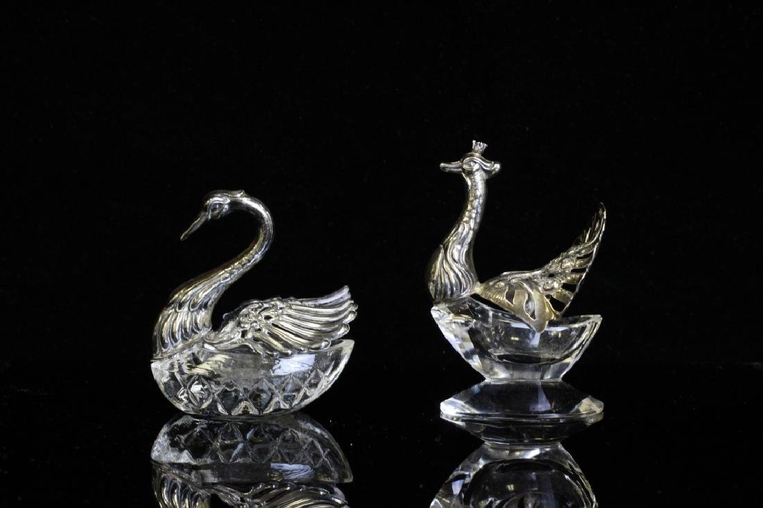 Two Small German Silver & Glass Bird Salts