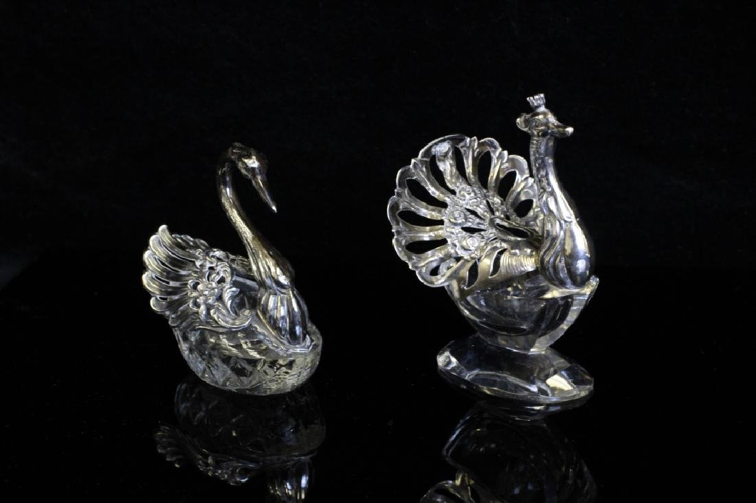 Two Small German Silver & Glass Bird Salts - 2