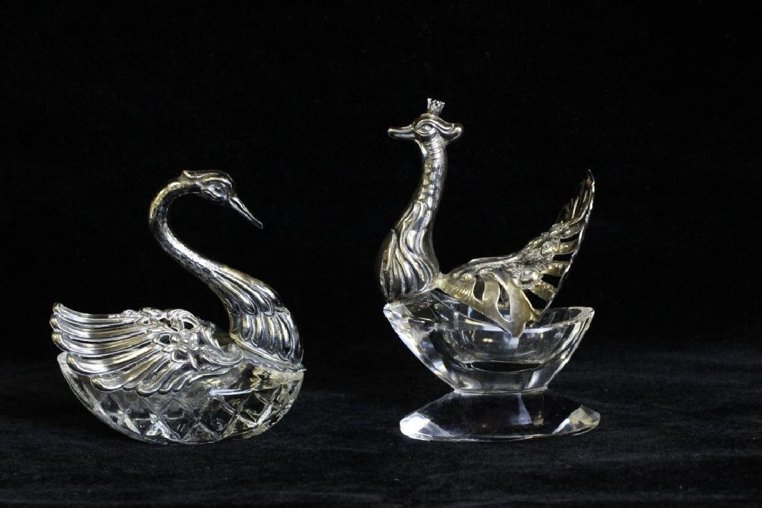 Two Small German Silver & Glass Bird Salts - 5
