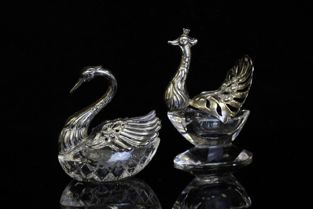 Two Small German Silver & Glass Bird Salts - 8
