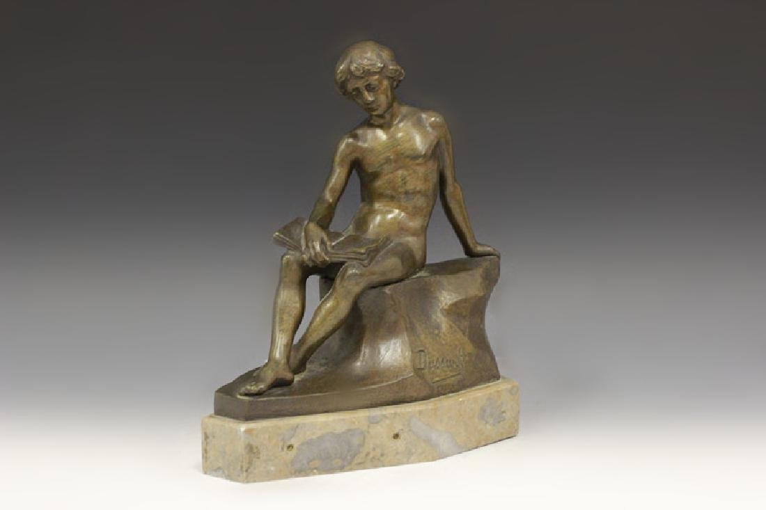 Bronze Figure Boy Sitting On Wall Signed Dussant