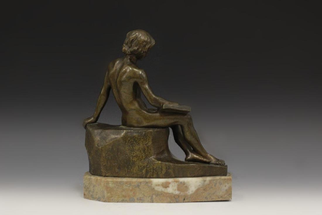 Bronze Figure Boy Sitting On Wall Signed Dussant - 2