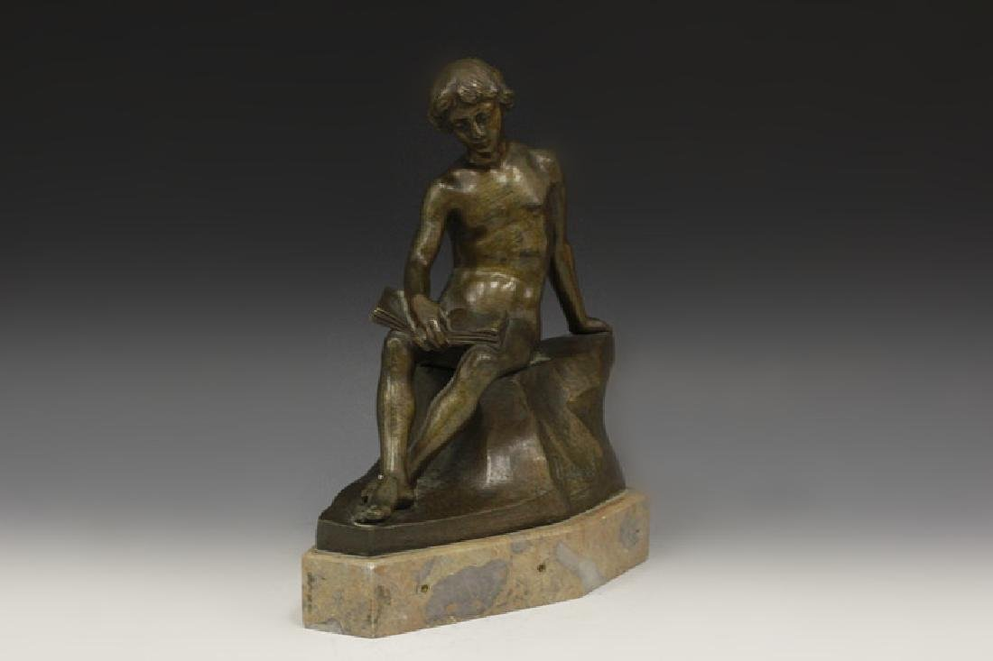Bronze Figure Boy Sitting On Wall Signed Dussant - 8
