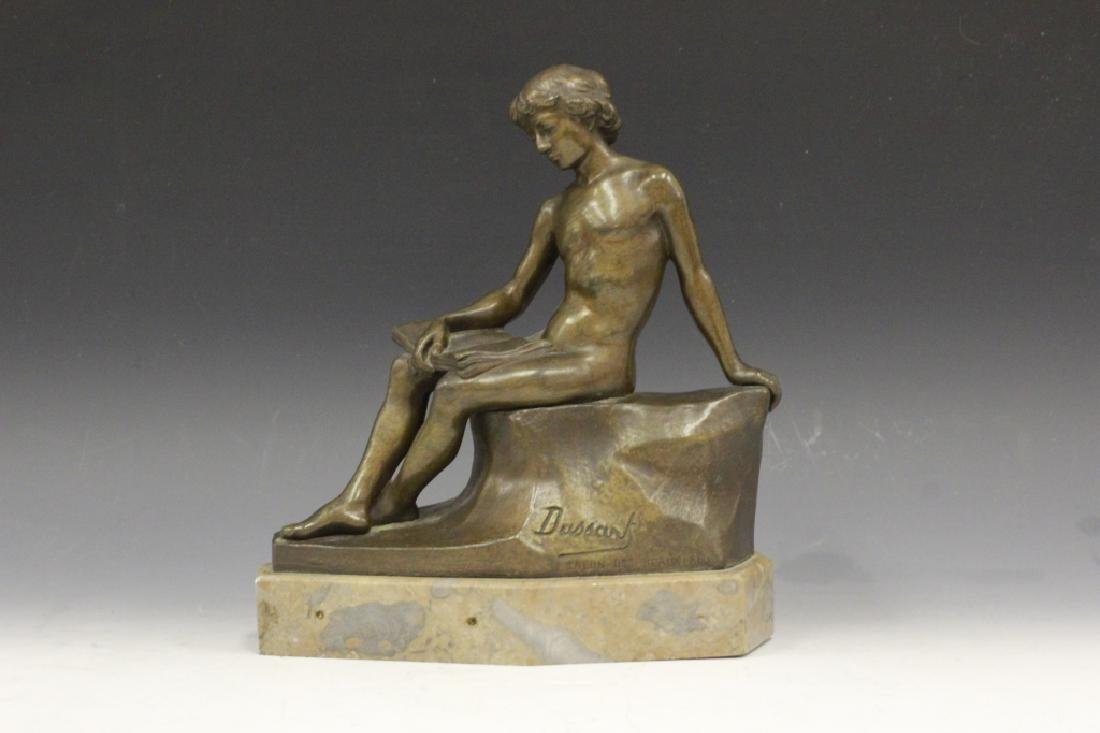 Bronze Figure Boy Sitting On Wall Signed Dussant - 9