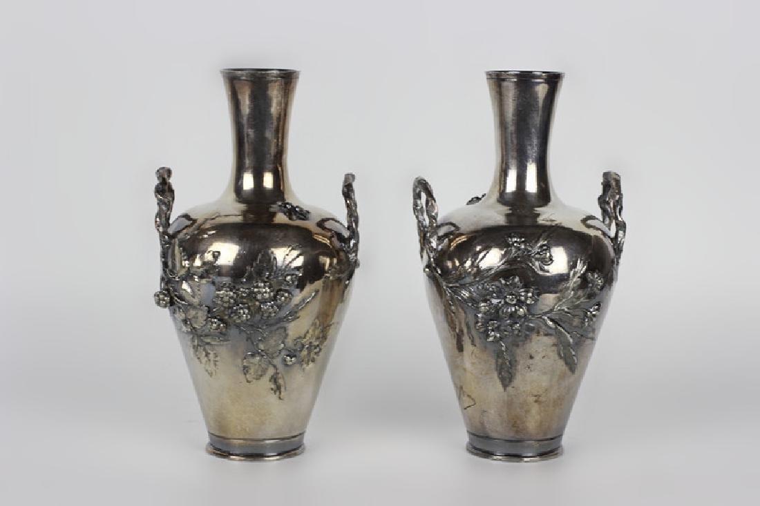 2 Art Nouveau Bronze Vases Signed Francois Moreau