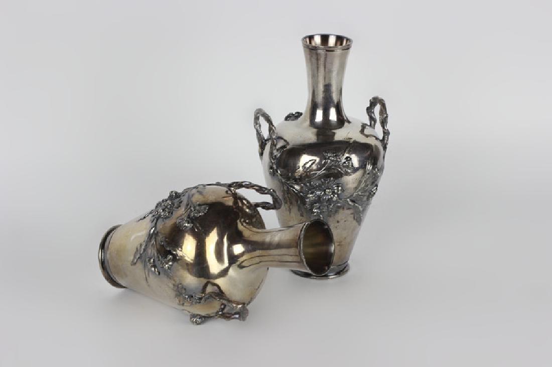 2 Art Nouveau Bronze Vases Signed Francois Moreau - 2