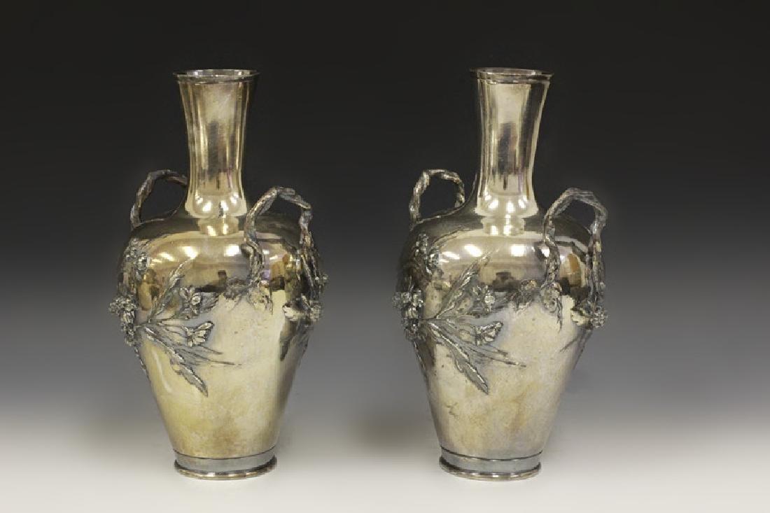 2 Art Nouveau Bronze Vases Signed Francois Moreau - 3