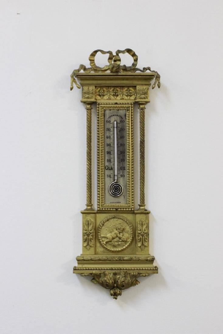 19thc Very Fine French Bronze Barometer